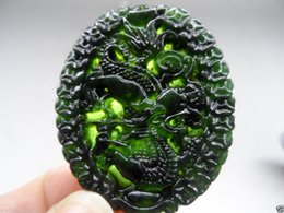 Carved Jade Red Pendants Australia - BEAUTIFUL-CHINESE-NATURAL-GREEN-COLOR-JADE-CARVED-JADE-PENDANT-Dragon