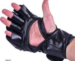 Leather Wrist Gloves Australia - Free shipping MMA boxing gloves extension wrist leather half fighting fighting Gloves
