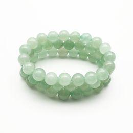 Venta al por mayor de Pulsera de aventurina verde de 10 mm, pulsera de piedras preciosas, cuentas redondas de aventurina, pulsera elástica, pulsera de buena suerte