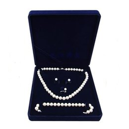 Velvet Jewelry Set Box UK - 19x19x4cm velvet jewelry box long pearl necklace box gift box for jewerly set blue color free shpping