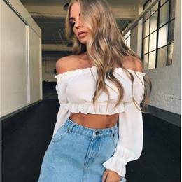 T Shirts New Words Australia - 2019 new summer hot sexy word collar wooden ear strapless chiffon shirt horn long sleeve exposed navel T-shirt top