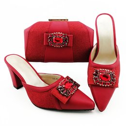 handbag red point UK - Gorgeous red women dress shoes match handbag with rhinestone style African pumps and bag set for party QSL012,heel 9CM