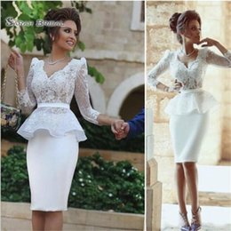 $enCountryForm.capitalKeyWord Australia - 2019 Peplum Sheath Long Sleeve V Neck Knee Length Cocktail Dresses Lace Short Party Dress Prom Formal Gowns Wedding Dresses