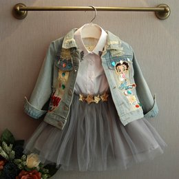 girls jeans top baby Canada - [Bosudhsou.] #J-3 New Spring Autumn Children Clothing Child Clothes Baby Girl Outerwear Coat Jackets Kids Tops Jeans Wear Denim Y191014