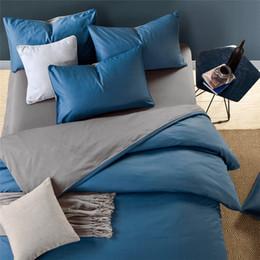 Yellow Blue Bedding Australia - Blue Grey 100%Cotton Duvet Cover Twin Queen King Size Bedding sets Bed sheet Fitted sheet Kids Adults Bedding set linge de lit