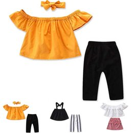 halloween striped leggings NZ - 2019 Cute Girls Summer Clothing Kid Strap Tops+Striped Pants Leggings 2pcs Outfits Kids Fashion Clothes toddler girl clothes C11