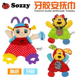 $enCountryForm.capitalKeyWord Australia - Wholesale- SOZZY 22cm Baby Teether Towel Infant Cute Lion Plush Comfort Sound Paper Dog Soft Appease Stuffed Toy Playmate Calm Doll