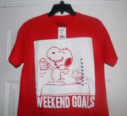0742ca0d2 PEANUTS SNOOPY DOGHOUSE Men's Medium M Weekend Beer T-Shirt Shirt NEW WITH  TAGS