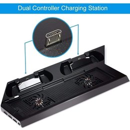 base station controller UK - PS4 Dual Charger Ports Controller Charging Station Vertical Stand Base Cooling Fan 2 Coolers for PS4