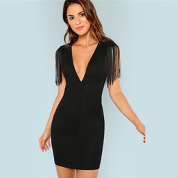sexy black fringe dresses Australia - Black Solid Deep V Neck Fringe Embellished Sexy Dress Autumn Tassel Party Dress Vintage Bodycon Summer Dresses