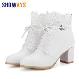$enCountryForm.capitalKeyWord NZ - British Women Martin Boots PU Leather Round Toe High Block Heel Lace-up Ankle Boots Winter Lady Embroider Mesh Zipper Short Boot