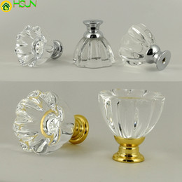 Crystal Drawer Handle Pulls Australia - Fashion Creative Petal Clear Glass Crystal Drawer Shoe Cabinet Knob Pull Silver Golden Kitchen Cabinet Cupboard Door Handle 32mm