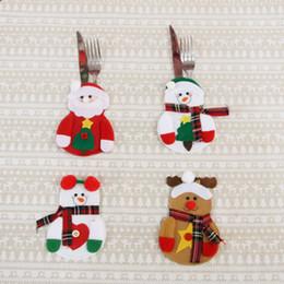 $enCountryForm.capitalKeyWord Australia - Christmas Cutlery Holder Fork Spoon Pocket Bag Christmas Decor Snowmen Santa Elk Kitchen Tableware Dinner Knife Fork Set Bags