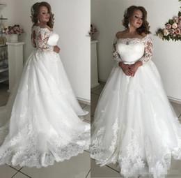 Petite Wedding Gown Pink Australia - 2019 Plus Size Country Lace Wedding Dresses 3 4 Sleeve Appliques Beads Sash Hollow Garden Bridal Gown vestido de noiva