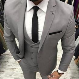 Grey Check Piece Suit Australia - New Grey Business Men Suits 3 Pieces(Jacket Pant Vest Tie) High Quality Slim Fit Blazer Formal Prom Terno Clothes Fashion