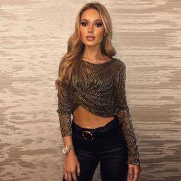 Sheer Camisole Tops NZ - Fashion Women Long Sleeve Sheer Short T Shirt Top Tee Female Girl Ladies Camisole T Shirt Outfits