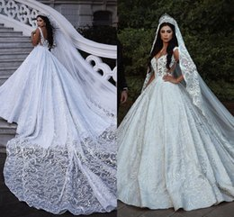 Monarch wedding dresses online shopping - Luxury Scoop Neckline Designer Wedding Dress Full Lace Appliqued Beading Pearls Bridal Gowns Castle Wedding Country Bridal Gowns