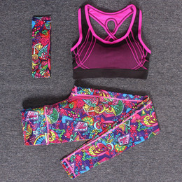ladies gym suit Canada - 2 Piece Set Women Yoga Sports Wear Outdoor Running Workout Fitness Top Bra Sports Pants Lady Gym Clothes Suits Free Headband T200628