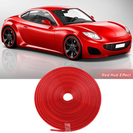 Discount toyota wheel sticker 8M Car Wheel Hub Rim Edge Protector Ring Tire Strip Guard Rubber Sticker Red