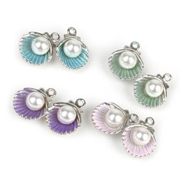 shell charm findings Canada - 10pcs Enamel Shell Charm Pendant For Women Earring Jewelry Making Alloy Beads Fit Bracelet & Necklace DIY Jewelry Finding