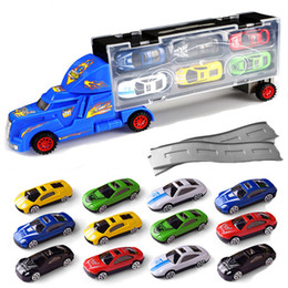 box trucks 2019 - 12 pieces Set Mini Portable Simulation Container Truck Model Toy Alloy Car Box Toy With Car Racing for Kids Children Par