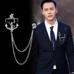 Male Fashion Suits Australia - Korean Fashion New Personalized Tassel Anchor Brooch with Chain Fringed Metal Brooches Lapel Pin Badge Male Suit Men Accessories