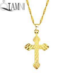 $enCountryForm.capitalKeyWord Australia - QIAMNI Gold Tone Crucifix Jesus Christ Cross Pendant Necklace Hip Hop Delicate Copper Religious Jewelry Charm Men Gift Collier