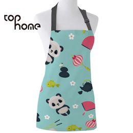 $enCountryForm.capitalKeyWord Australia - Tophome Kitchen Apron Cartoon Animal Panda Printed Adjustable Sleeveless Canvas Aprons for Men Women Kids Home Cleaning Tools
