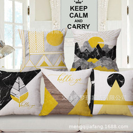 $enCountryForm.capitalKeyWord Australia - Meng Qi Home Textile Yellow Line Concise Geometry Northern Europe Hold The Wind Pillow Case Cotton Cushion Set