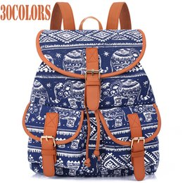 canvas string backpack NZ - Sansarya New 2018 School Bag Bohemian Vintage Women Backpack Drawstring Printing Canvas Bagpack Sac A Dos Femme Rucksack Female Y19051405