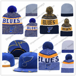 Wholesale St Louis Blues Ice Hockey Knit Beanies Embroidery Adjustable Hat Embroidered Snapback Caps Blue White Stitched Hats One Size