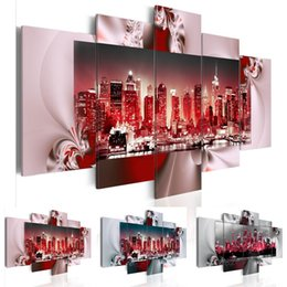 Large Oil Prints Canvas Australia - Fashion City Night Building 5 Panels set Large Hd Picture Canvas Print Painting Artwork Wall Decorative Oil Painting Unframed