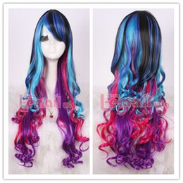 $enCountryForm.capitalKeyWord Australia - peruca hair queen New NEW STYLE >>>Harajuku 70cm long mix color rainbow curly Hair Cosplay Wig