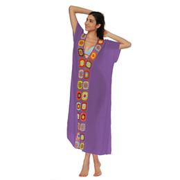 Discount women s short sleeve swimwear - 2019 New Sexy Women Swimwear Tunic Dress Crochet Knit Deep V-Neck Robe Femme Ete 2019 Short Sleeve Side Split Summer Bea