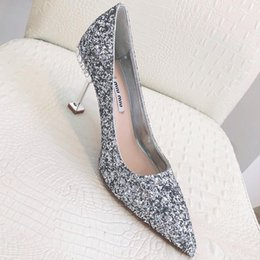 valentines day wedding dresses 2019 - 2019 summer new top wedding shoes bride and lady Valentines Day gift new fashion sexy sequins silk dress shoes high heel