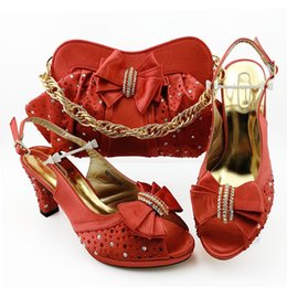 coral handbag Canada - Fashion Coral women pumps match handbag with rhinestone bowtie style african dress shoes and bag set MM1094,heel 9CM