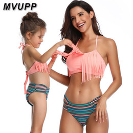 $enCountryForm.capitalKeyWord UK - Mother Daughter Swimsuit Family Matching Outfits Mommy And Me Look Clothes Swimwear Tassel Striped Bikini Mama Baby High Waist Y19051103