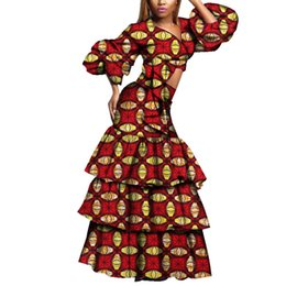 2 pieces Set African Clothing for Women Long Puff Sleeve V Neck Crop Tops  and Long Skirts Africa Print Evening Party Skirt WY3783 87582ebf6f2e