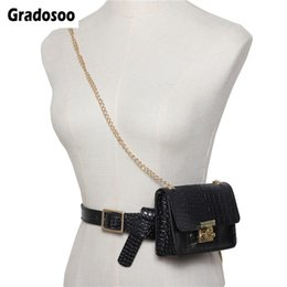 leather hip belts for women Australia - Gradosoo Alligator Waist Bag For Women Belt Bag Leopard Fanny Pack Female Shoulder Chain Hip PU Leather Women LBF514