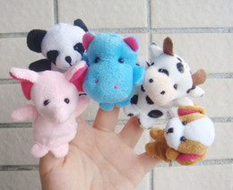 Wholesale Toys Ships Australia - 10Pcs Family Finger Puppets Cloth Doll Baby Educational Hand Cartoon Animal finger toys gift for kids finger Plush Toy free shipping