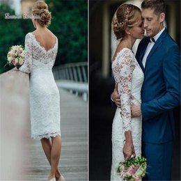 $enCountryForm.capitalKeyWord Australia - Short Tea Length Sheath Wedding Dresses With Long Lace Sleeves Bridal Party Gowns Vestidos De Novia