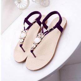 Flat Gem Backs NZ - 2018 high quality Sandals fashion designer flip flops sandals gem owl women shoes wide flat slippers luxury beach wholesale size US5.5-US8.5