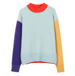 aa679a4417 Sweet Color Block Imitation Mink Sweater 2019 New Autumn Winter Patchwork  Jumper Women Long Sleeve Pullovers Knit Tops