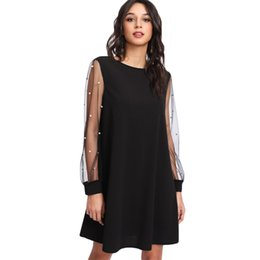 $enCountryForm.capitalKeyWord Australia - Elegant Womens Dresses Pearl Beading Mesh Sleeve Tunic Dress Autumn Black Boat Neck Long Sleeve A Line Dress designer clothes