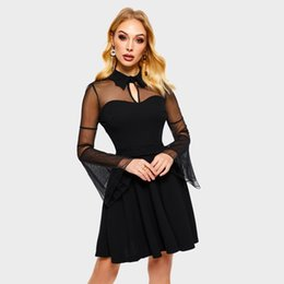 dea1810098e Women Dresses Casual Elegant Black Gothic Plus Size Aline Flare Sleeve Mesh  Red Spring Office Lady Sexy Female Goth Dress