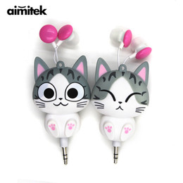 Cheese Cat earphone online shopping - Aimitek Cute Earphones Cheese Cat Cartoon Chi s Sweet Home Earbuds Automatic Retractable Sports Hifi Headsets for Mobile Phones