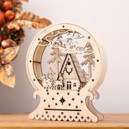 cabin lighting Australia - Cute Wood House Christmas Decorations Luminous Cabins Creative Gift Table Decor Christmas Ornaments For Home Party LED Lighting SH190916