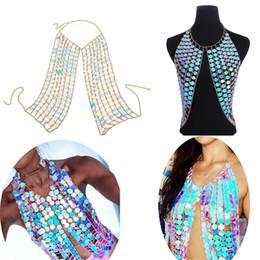 Bikini Chains Accessories Australia - Ladies Sexy Bikini Top Bra Chest Belly Chains Shiny Sequins Brassiere Body Chain Harness Necklace Body Jewelry Fashion Accessories Gift