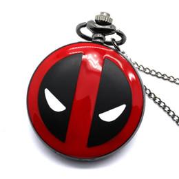 $enCountryForm.capitalKeyWord NZ - Fashion Deadpool Theme Fob Pocket Watch Necklace Marvel Animation 42cm Chain Necklace United States Deadpool Antique Clock Gift