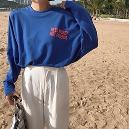 Wholesale couple tshirt long sleeves online – design New Women T Shirts Harajuku Loose Couple Tee Street Ulzzang Letter Print O Neck T Shirt Long Sleeve Oversized Tshirt Tops